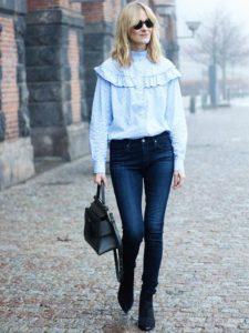 блузка с рюшами и джинсы