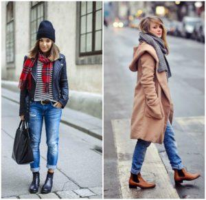 ботинки и укороченные джинсы