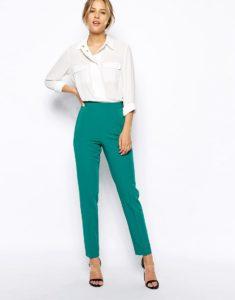 брюки со стрелками с завышенной талией