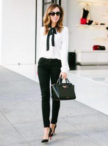 деловой образ с белой рубашкой