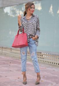 джинсы с леопардовой рубашкой