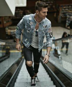 джинсы мужские с джинсовой курткой