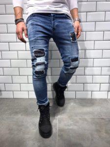 джинсы с заплатками мужские
