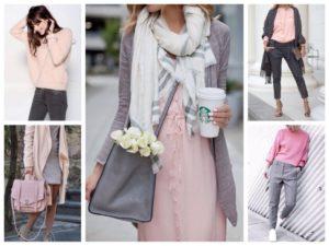 сочетание серого с бледно-розовым цветом
