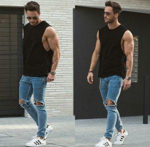 узкие джинсы мужские с кедами