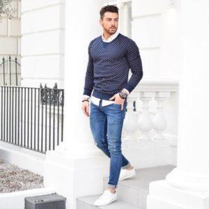 зауженные джинсы мужские со свитером