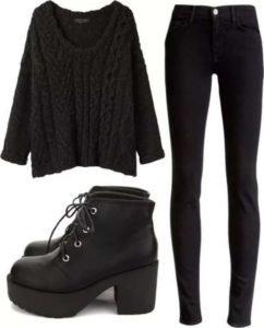 с черной одеждой модные образы