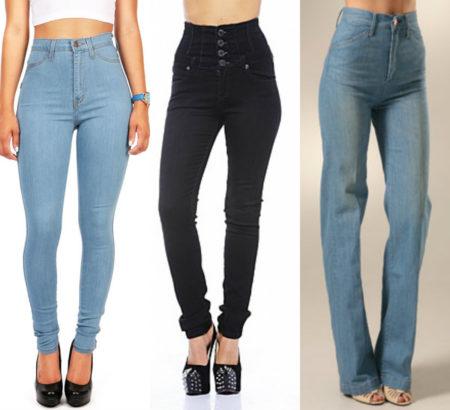 с чем носить джинсы с высокой посадкой зимой и летом