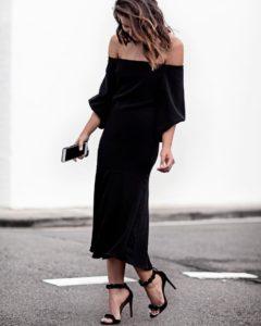 красивое длинное черное платье