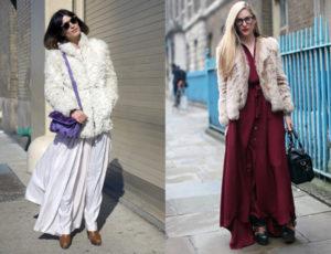 Какую верхнюю одежду носить с юбкой миди зимой?
