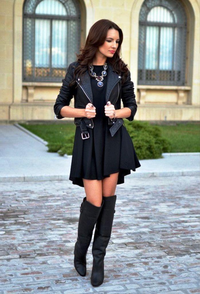 черное платье с сапогами фото листьях поселяются