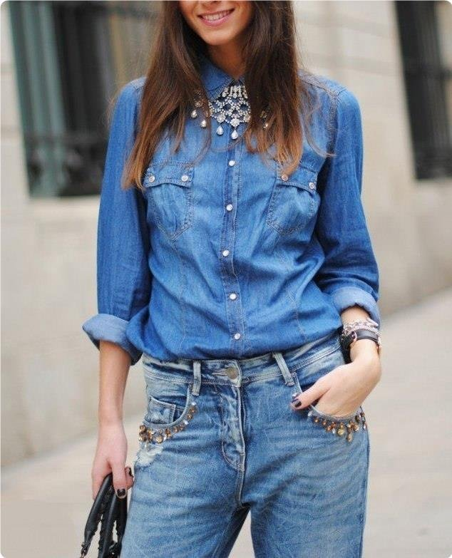 Лучшие женские джинсовые рубашки
