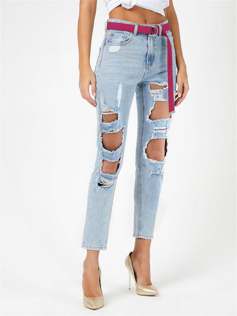 Лучших женские прямые рваные джинсы