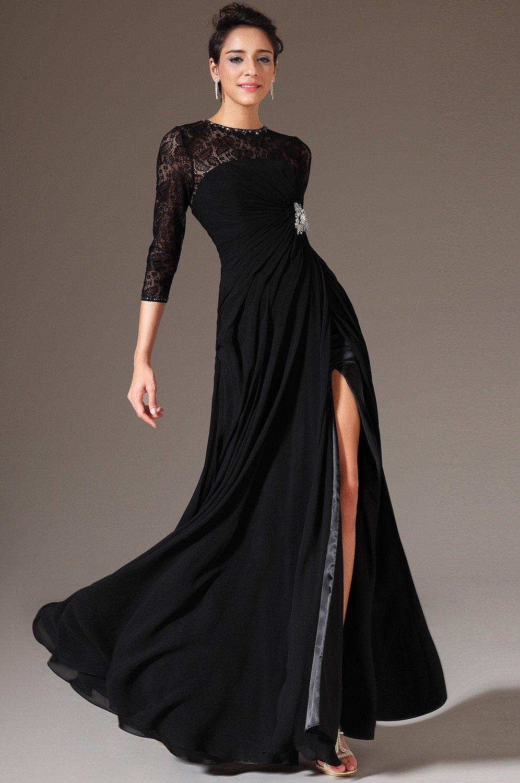 Топ 10 лучших черных вечерних длинных платьев